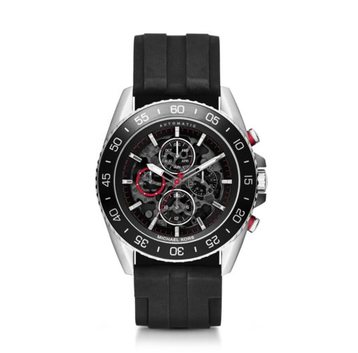 Une montre JetMaster Silver Tone and Silicone Watch Michael Kors