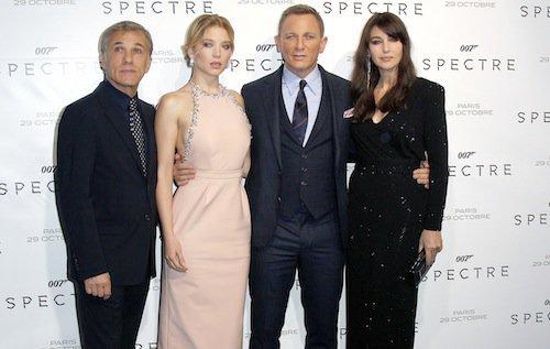 Christoph Waltz, Léa Seydoux, Daniel Craig, Monica Bellucci à la première de Spectre à Paris, le 29 octobre 2015