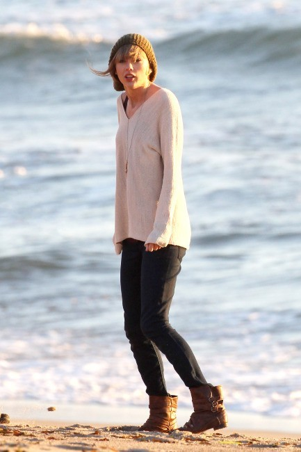Taylor Swift le 11 février 2013 sur le tournage de son dernier clip à Malibu
