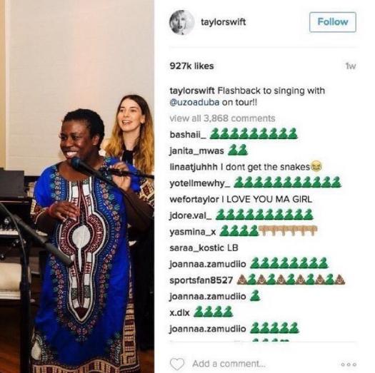 Les commentaires sous le compte Instagram de Taylor Swift
