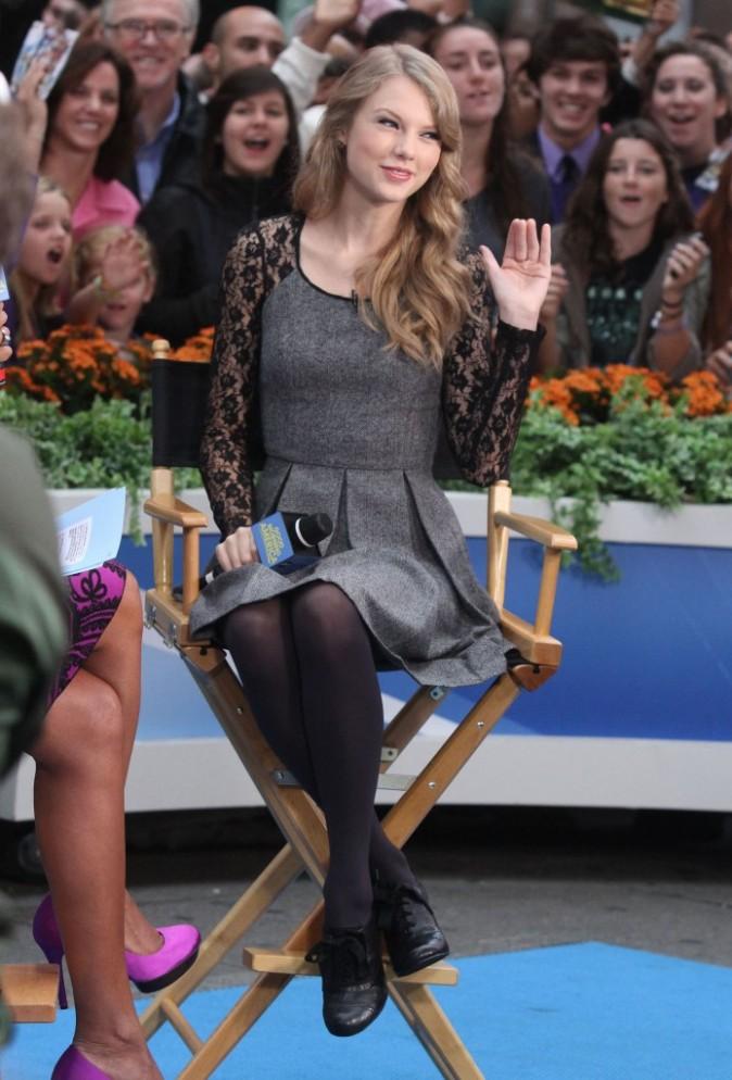 Taylor Swift sur le plateau de Good Morning America à New York, le 13 octobre 2011.