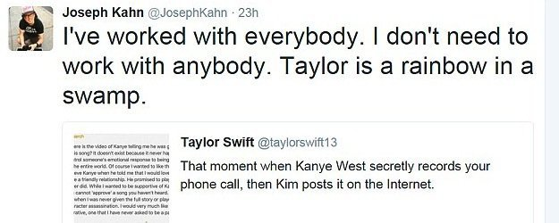 """Taylor Swift : le réalisateur du clip """"Bad Blood"""" prend sa défense et dézingue Kim Kardashian !"""