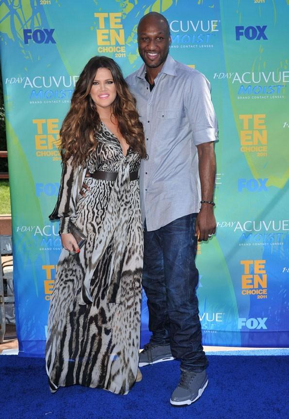 Khloe Kardashian et son mari Lamar Odom lors des Teen Choice Awards à Los Angeles, le 7 août 2011.