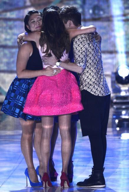 Lea Michele, Jenna Ushkowitz, Amber Riley et Kevin McHale lors des Teen Choice Awards à Los Angeles, le 11 août 2013.