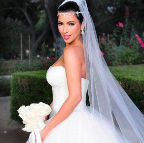 Kim Kardashian le jour de son mariage avec Kris Humphries