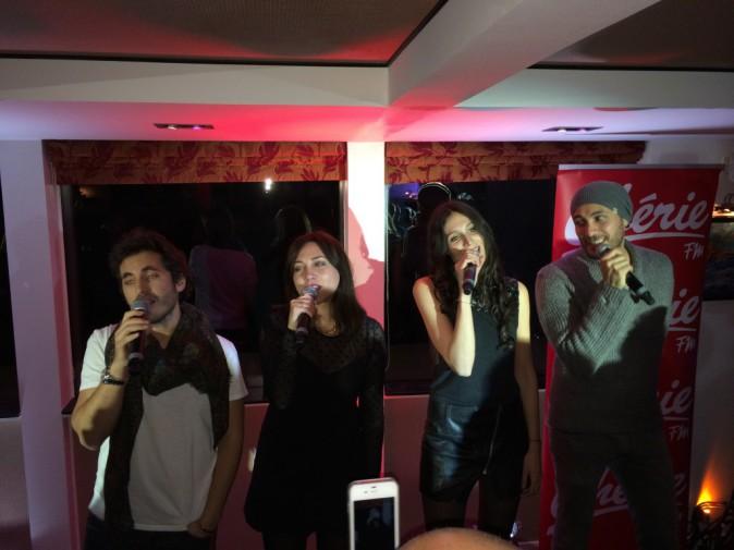 Michael Miro, Leslie, Pauline et Merwan Rim lors de la tournée Pop Love Chérie fm à Paris, le 29 janvier 2013.