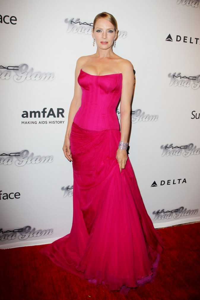 Uma Thurman lors de l'amfAR Inspiration Gala à New York, le 13 juin 2013.