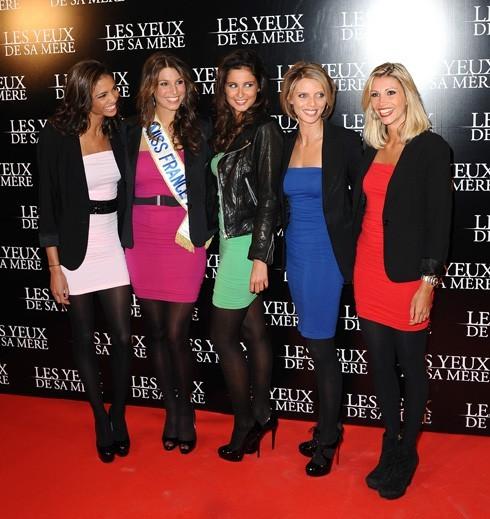 Les Miss France Chloë Mortaud, Laury Thilleman, Malika Menard, Sylvie Tellier et Alexandra Rosenfeld