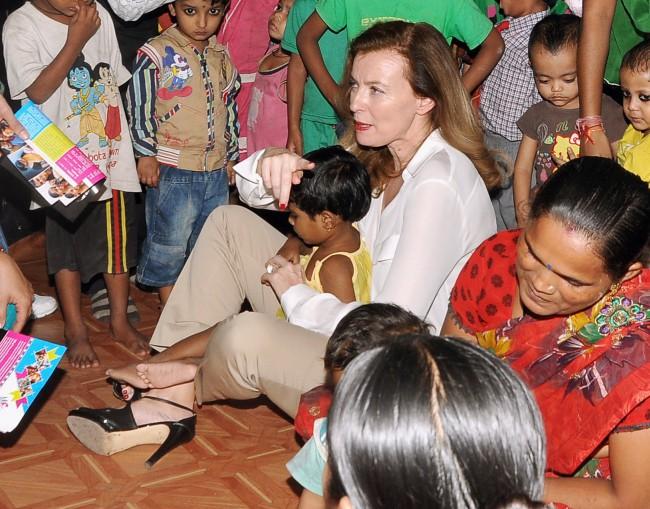 Valérie Trierweiler lors de son séjour en Inde.