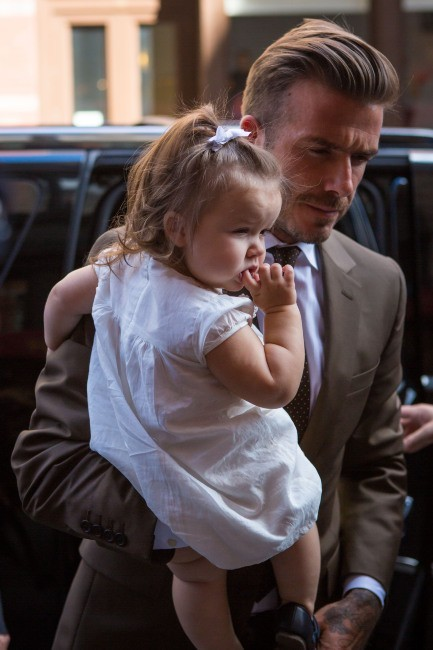 David Beckham et sa fille Harper à New York à l'occasion de la Mercedes-Benz Fashion Week, le 9 septembre 2012.