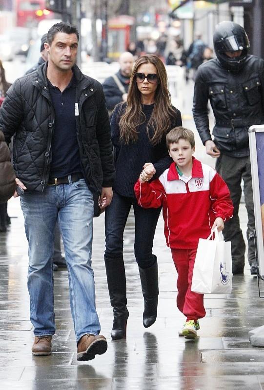 Victoria Beckham et son fils Cruz, Londres, 28 janvier 2013.