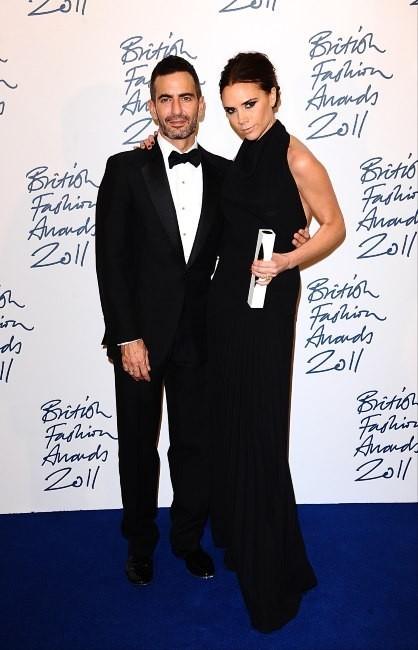 Victoria Beckham et Marc Jacobs lors de la soirée des British Fashion Awards à Londres, le 28 novembre 2011.