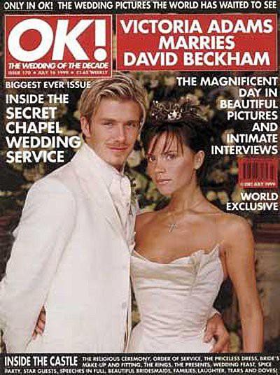 Victoria et David Beckham en couverture de OK! Magazine pour leur mariage.