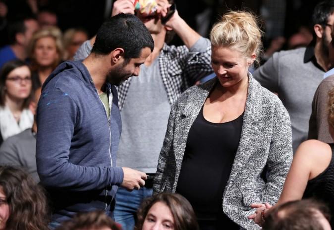 Virginie Efira enceinte et son compagnon Mabrouk El Mechri lors du Festival de l'Alpe d'Huez, le 19 janvier 2013.