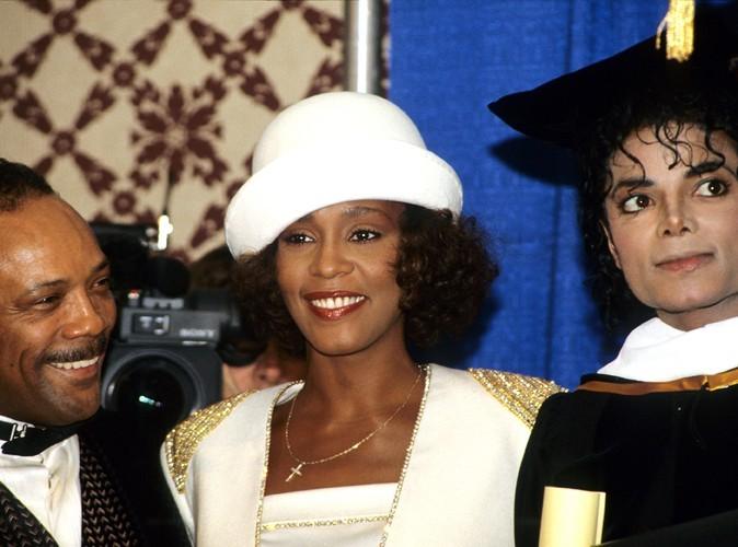 Aux côtés de Quincy Jones et de Michael Jackson en 1988.