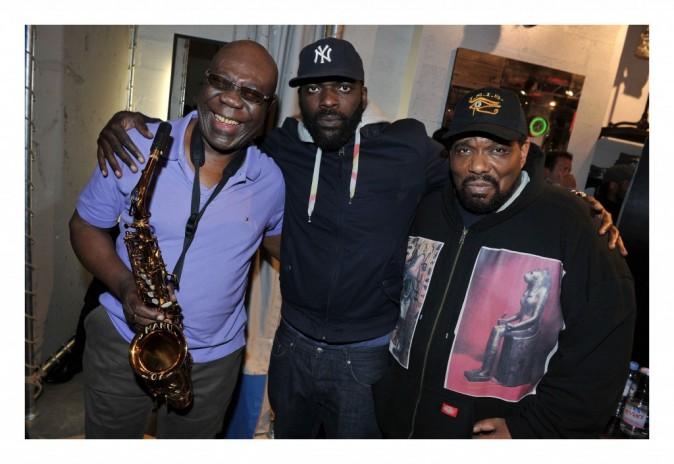 Manu Dibango, BlackJack Democrates et Afrika Bambaataa lors de la soirée Tommy Hilfiger à paris, le 26 avril 2012.