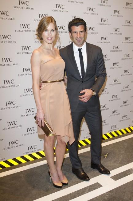 Luis Figo et sa femme Helen lors de la soirée IWC Schaffhausen Top Gun Gala à Genève, le 17 janvier 2012.