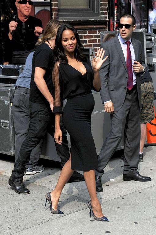 Zoe Saldana à New-York le 30 juillet 2014