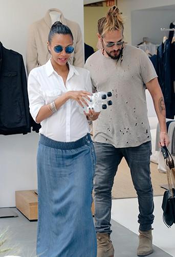 Zoe Saldana et Marco Perego à Los Angeles le 14 août 2014