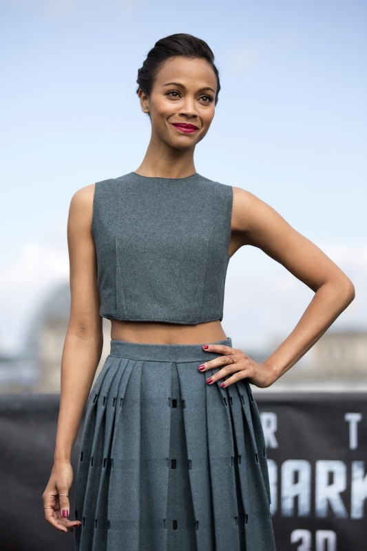 Zoe Saldana lors du photocall du film Star Trek Into Darkness à Berlin, le 28 avril 2013.
