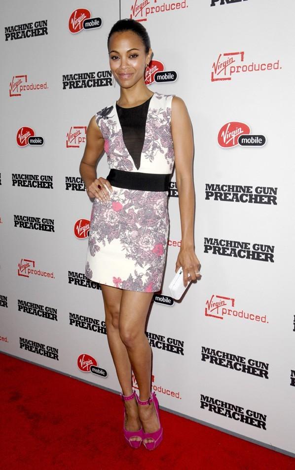 """Zoe Saldana lors de la première du film """"Machine Gun Preacher"""" à Los Angeles, le 21 septembre 2011."""