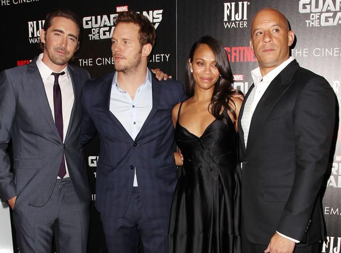 Lee Pace, Chris Pratt, Zoe Saldana et Vin Diesel à New York le 29 juillet 2014