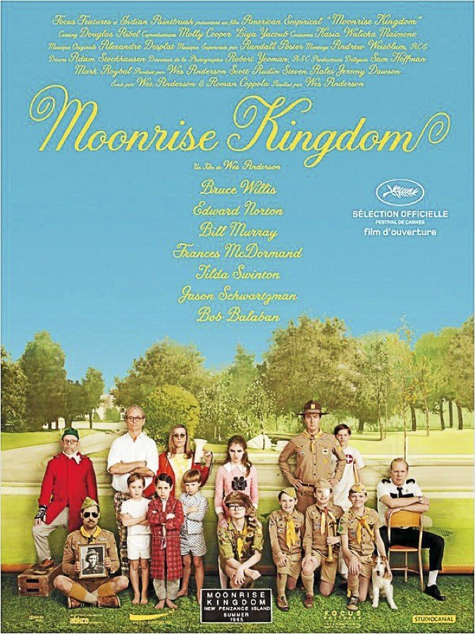 "L'affiche du film ""Moonrise Kingdom"" de Wes Anderson avec Bruce Willis et Edward Norton"