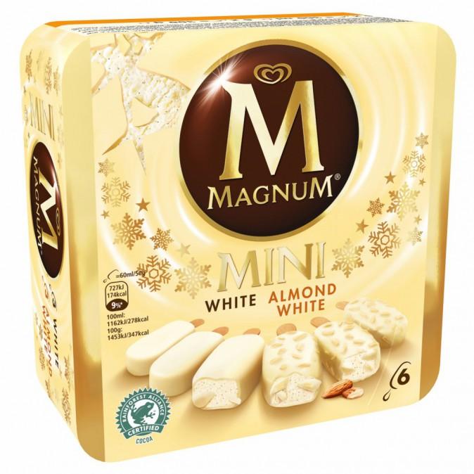 """Coffret """"Magnum Mini White"""", 6 mini chocolat blanc, chocolat blanc amande Magnum 4,20€"""