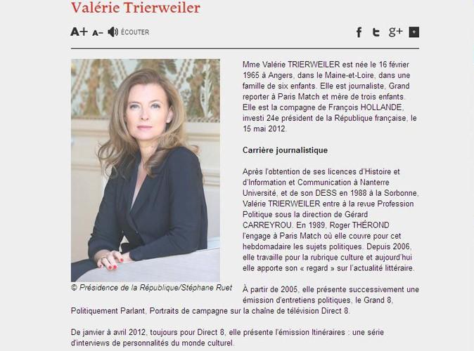 Valérie Trierweiler : elle a toujours sa page dédiée sur le site de l'Elysée !