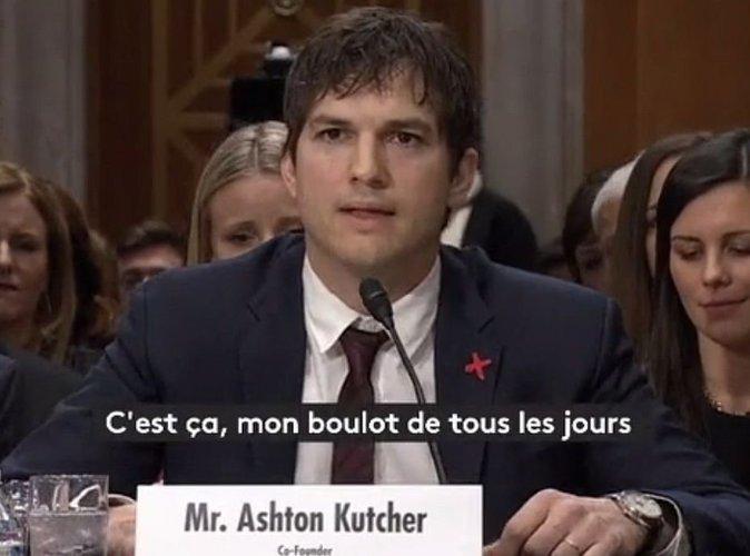 Vidéo : Ashton Kutcher : La voix étranglée, il témoigne contre le tourisme sexuel
