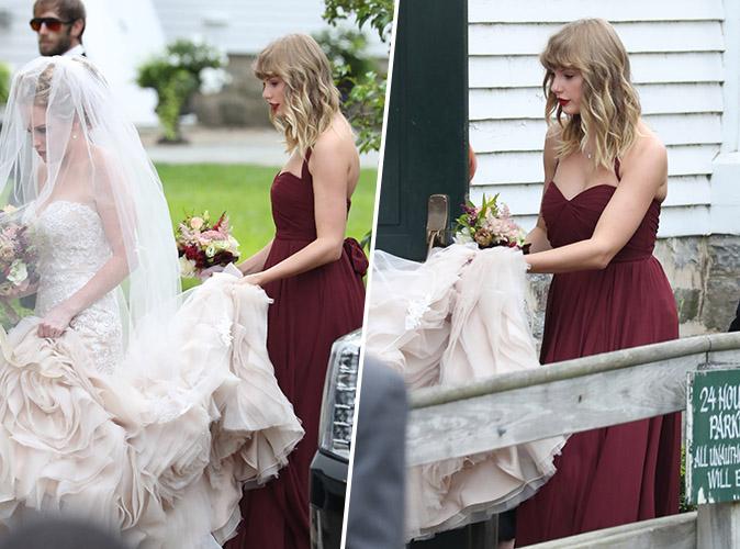 Taylor Swift : Sage et jolie en robe bordeaux pour le mariage de sa meilleure amie